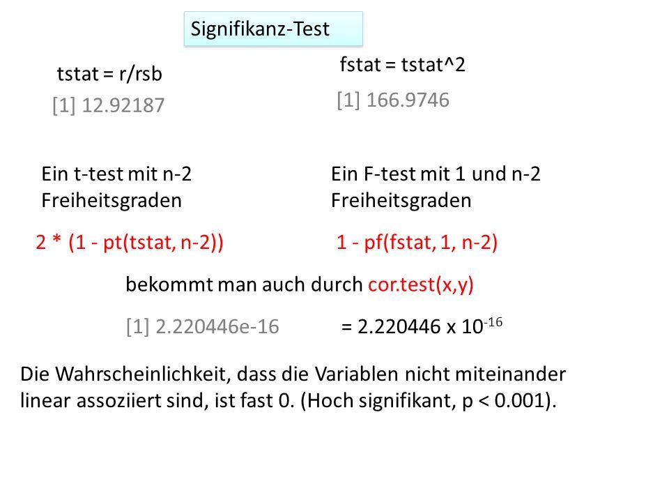 Signifikanz-Test fstat = tstat^2. tstat = r/rsb. [1] 166.9746. [1] 12.92187. Ein t-test mit n-2 Freiheitsgraden.